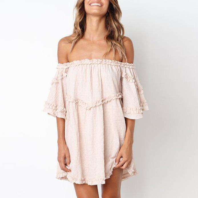 Off Shoulder Flare Sleeve Maternity Dress