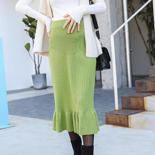Maternity solid color pits ruffled knit skirt