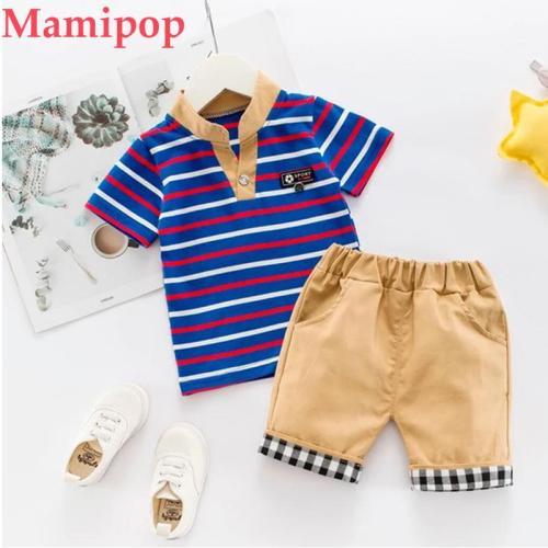 Summer Boy Gentleman Stripe Short Sleeve Tops T-Shirt Plaid Shorts