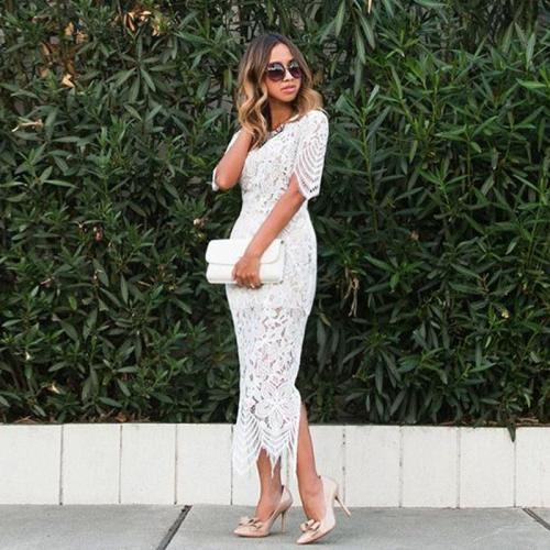 Maternity European And American Sexy Sleeves Lace Split Pencil Skirt