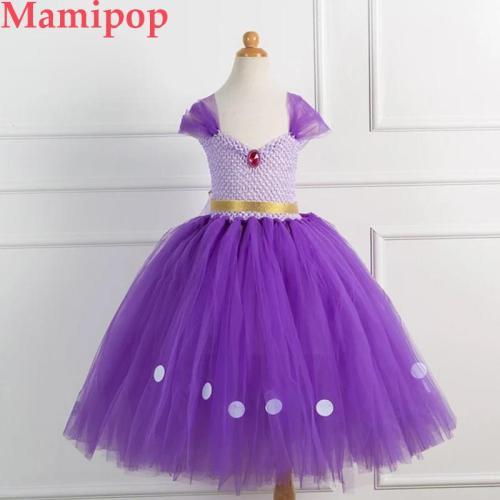 Girls Princess Sofia Tulle Tutu Dress Rapunzel Ball Gown Dresses