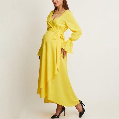 Maternity A Waist V Collar Yellow Irregular Swagger Dress