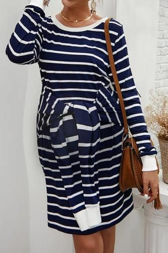 Maternity Round Neck Long Sleeve Dress