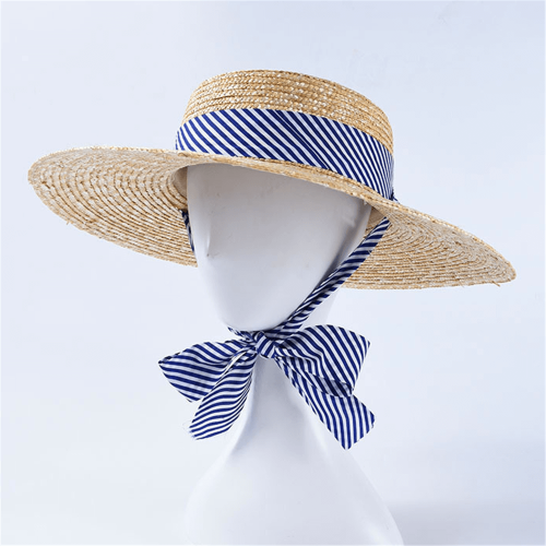 Fashion Casual Striped   Ribbon Straw Hat