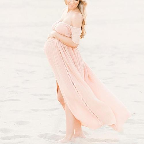 Maternity Pure Color Sexy Open Shoulder High Fork Dress