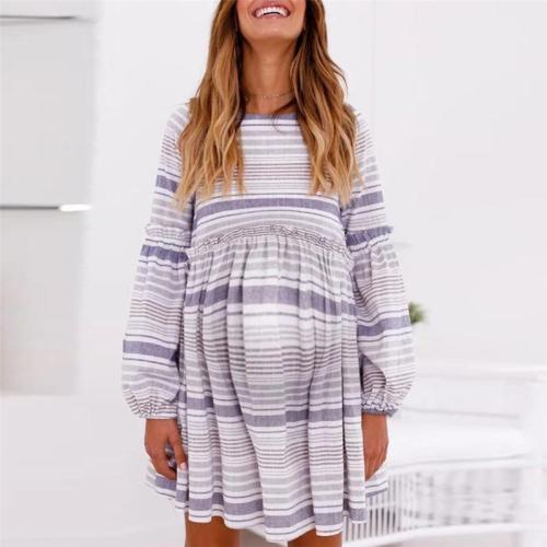 Maternity Printed Striped Lantern Sleeve Dress
