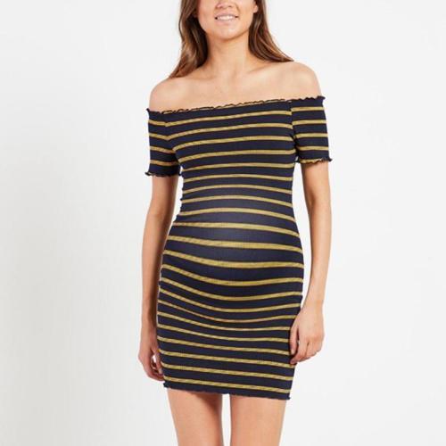 Maternity Ruffled Off-Shoulder Splicing Short-Sleeved Striped Dress