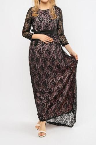 Maternity Lace 3/4 Sleeve Maxi Dress