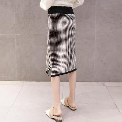 Maternity classic knit stomach lift plaid skirt