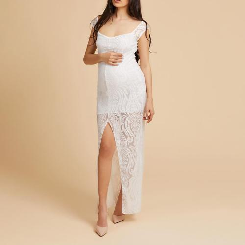 Maternity Solid Color Sexy Off Should Bodycon Maxi Dress