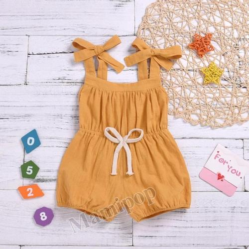 Infant Baby Girl Solid Color Strap Jumpsuit Casual Overall Clothes