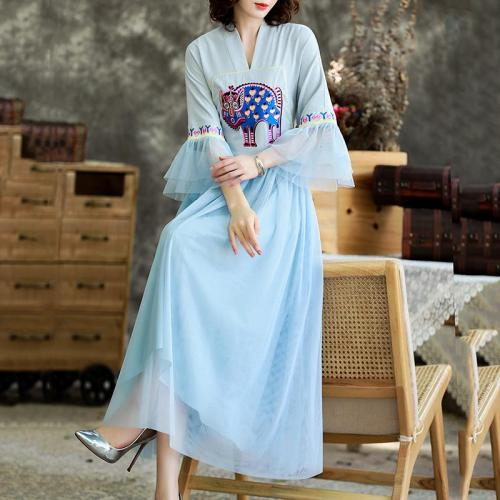 Spring  Vintage Style Embroidery Women's Flared Sleeves A-line Dress