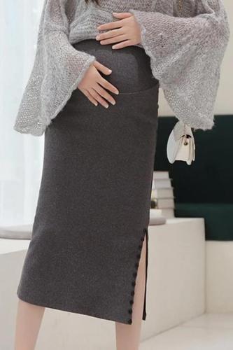 Maternity Solid Color Side Split Slim Skirt