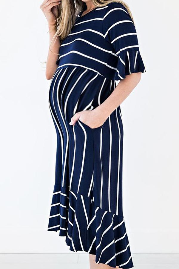 Maternity O-Neck Stripe Patchwork Casual Dress