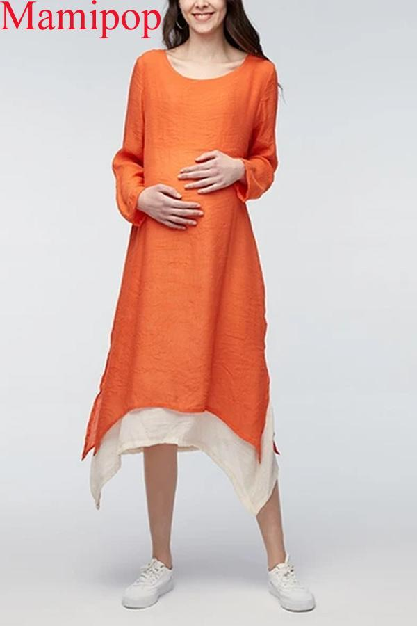 Maternity Clothes Spring Casual Loose Full Sleeve Irregular Dress