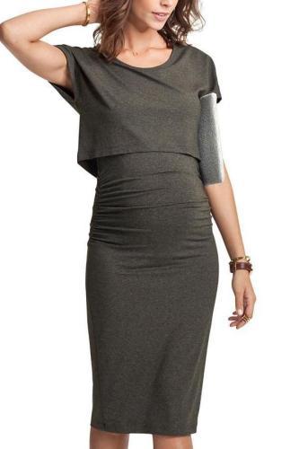 Maternity Short Sleeve Fake-Two-Piece Midi Dress