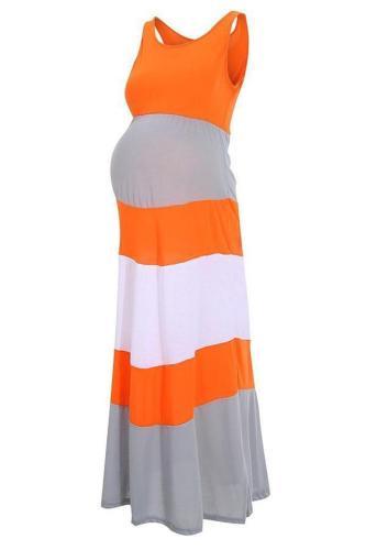 Colorblock Chevron Accent Maternity Maxi Dress
