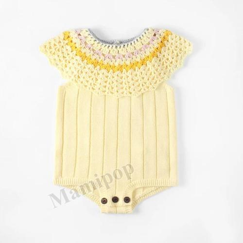 Baby's Hand Cut Hook Flower Large Lotus Leaf Collar Knitting Wool One-piece Creeper