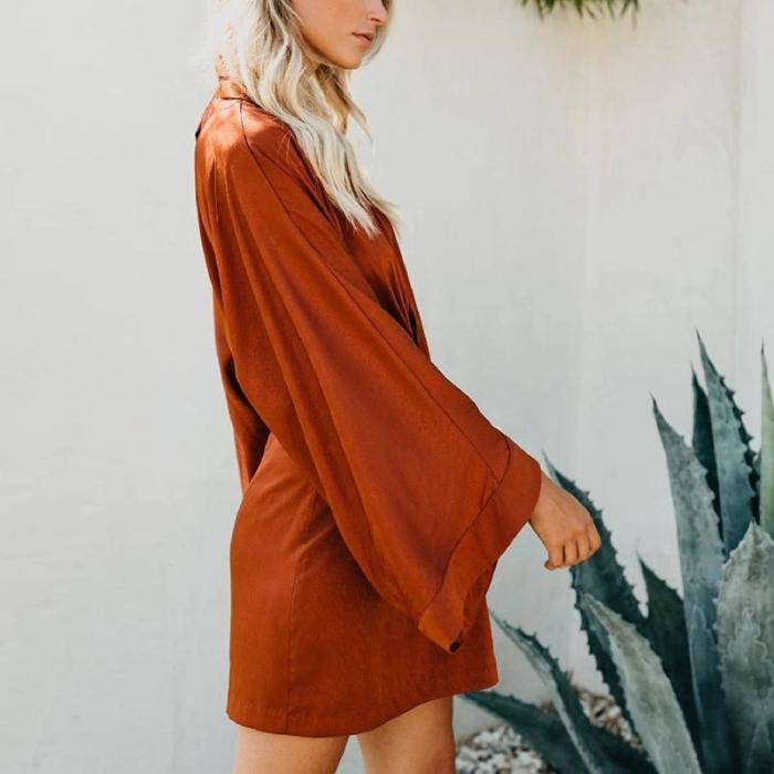 Maternity Sexy Leaky V-Neck Flared Sleeve Dress