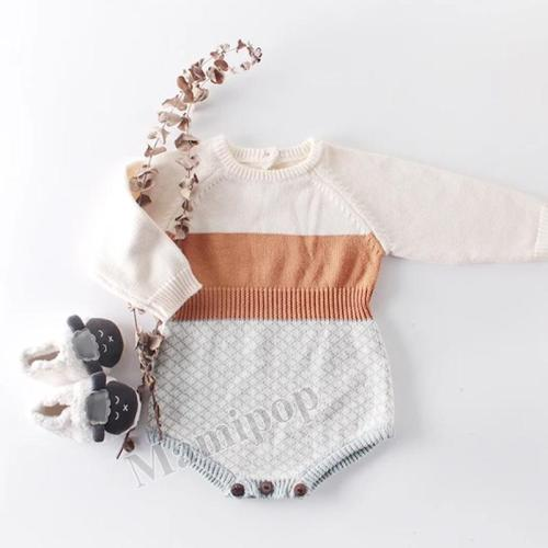 2020 New Baby's Retro Contrast Knitting Wool One-piece Clothes Bag Fart  Creeper