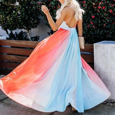 Maternity V-Neck Stitching Color Halter Dress