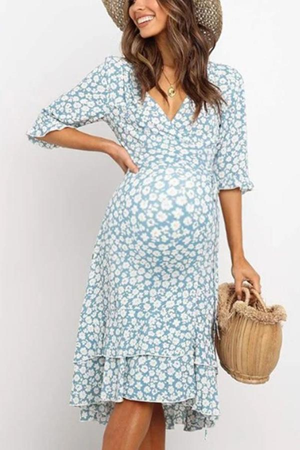 Maternity V-Neck Floral Casual Ruffled Dress