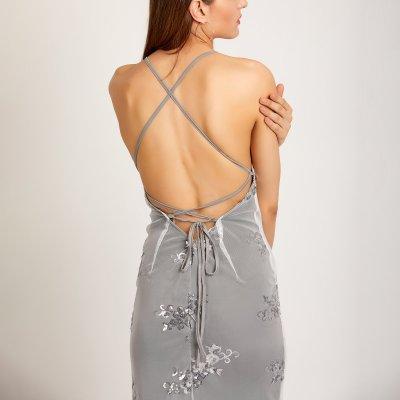 Maternity Spaghetti Strap Lace-Up Glitter Plain Evening Dress