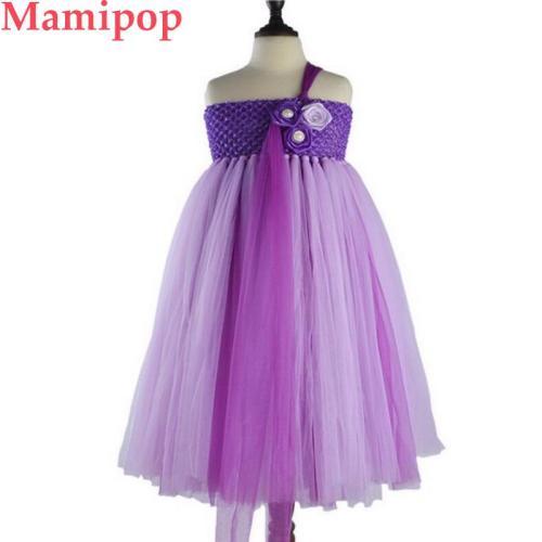 Purple Girls Unicorn Flower Tutu Dress Kids Crochet Tulle Strap Dress