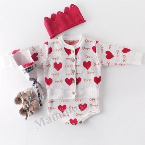 2020 Baby Suit Love Coat + Two-Piece Baby Suit Creeper Suit