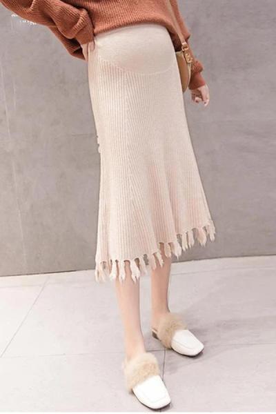 Maternity Solid Color Knit Fringe Skirt