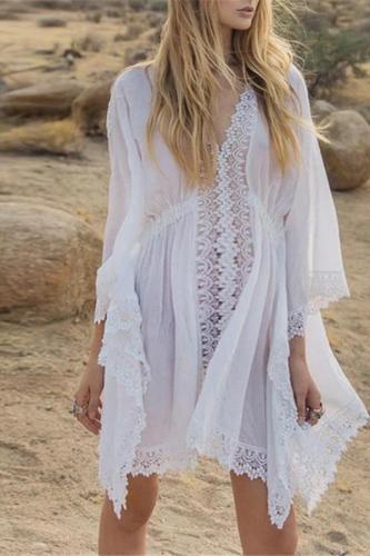 Lace V-neck bohemian fringed maternity dress