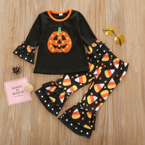 Toddler Baby Girls Boys Clothes Halloween Print Tops Polka Dot Flared Pants Outfits Set Unisex Baby Girl Clothes Long Sleeve#50