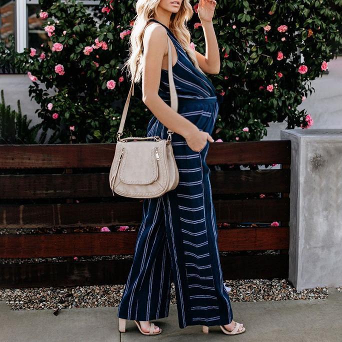 Maternity Striped V-Neck Jumpsuit