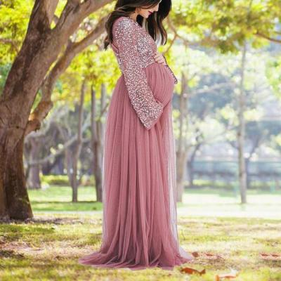 Maternity V-Neck Long Sleeve Tulle Gown With Tonal Delicate Sequins
