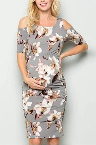 Maternity Off Shoulder Printed Daily Dress