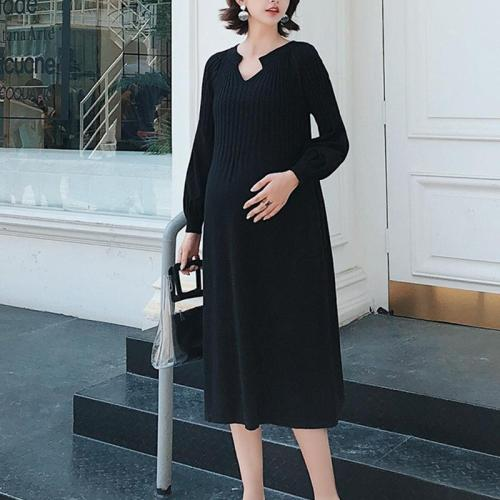 Maternity Thin Black Knit Dress