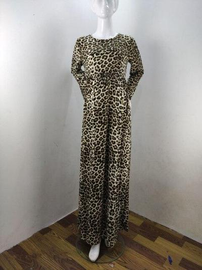 Fashion Leopard Print Pregnancy Dress Photography Props  Long Sleeve Maternity Dress