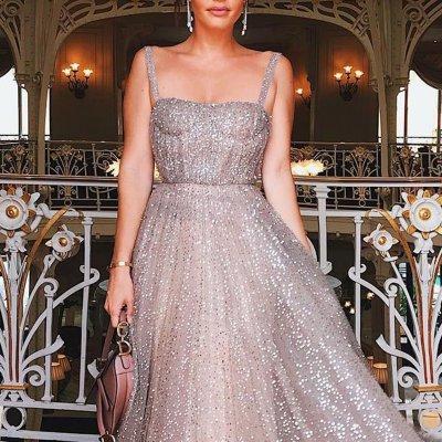 Sexy Elegant Sequin Sleeveless Maxi Evening Dress