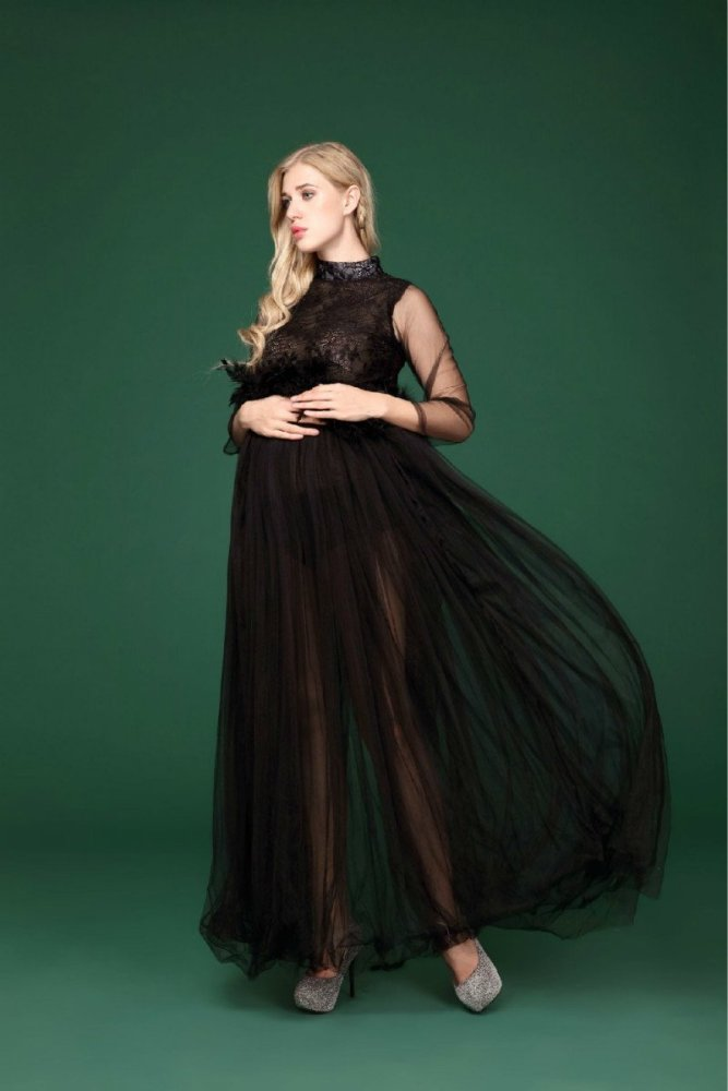 Portrait Maternity Dresses Lace For Photo Shoot