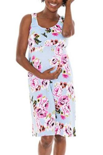 Maternity Casual Floral Sleeveless Dress
