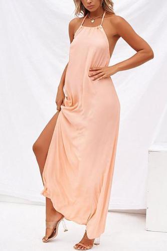 Maternity Bohemian Beach Dress With A Halter, Halter And Slit
