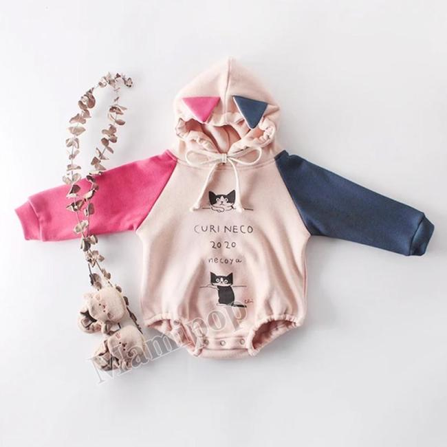 2020 Autumn and Winter Boys and Girls  cat Print long-sleeved Hooded clothes Climbing clothes