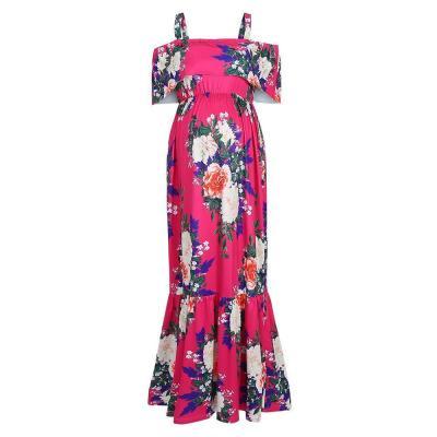 Magenta Floral Ruffle Open Shoulder Maternity Maxi Dress
