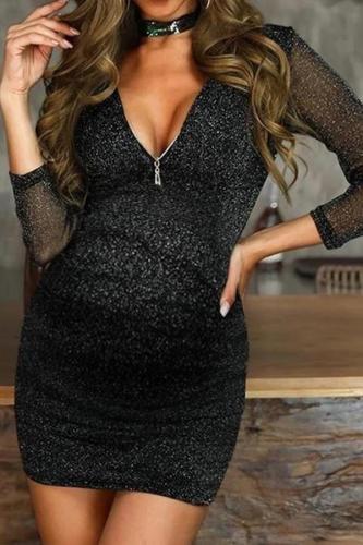 Maternity Fashion Sexy V-neck Gold Silk Long Sleeve Dress