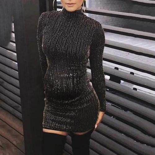 Maternity Fashion Turtleneck Sequin Dress