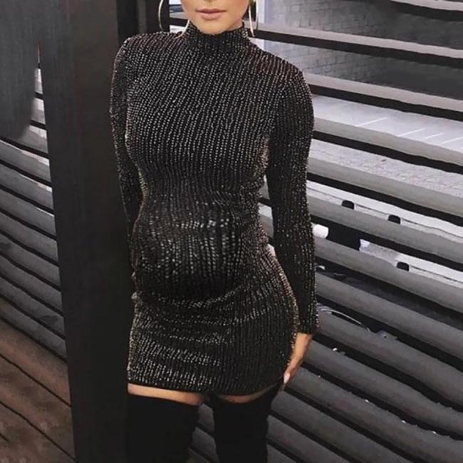 Maternity Fashion Turtleneck Sequin Dress