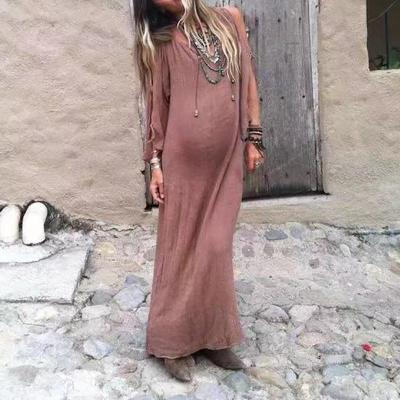 Maternity Bohemian Solid Color V-Neck Off-The-Shoulder Lace Long Sleeve Dress