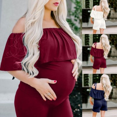 New Pregnant Sexy One-piece off the Shoulder Wrap Chest Lotus Leaf Edge Pregnant Clothes