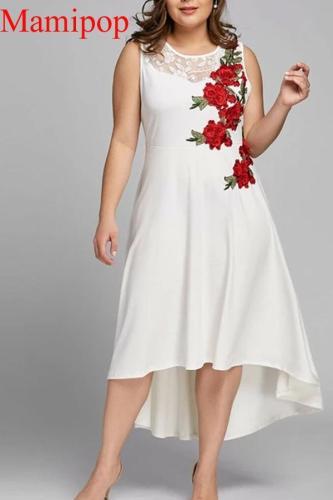 summer clothes for pregnant women O-Neck Appliques Zipper Perspective Sleeveless Mesh Dress