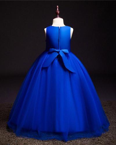 Solid Color Lace Mop Evening Dress